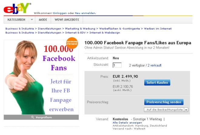 Ebay Auktion / 100'00 Fans